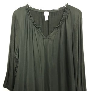 Chico's olive green top, ruffle detail at neck